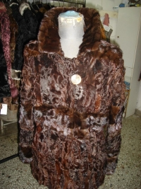 Chocolat coat from astrakhan paws and mink stripe  450$