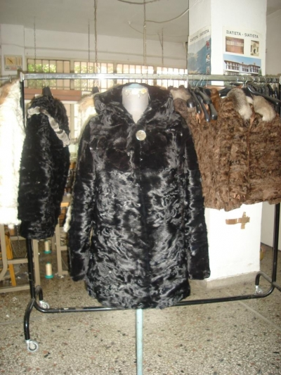 Black astrakhan karakul paws with mink and hood No 44 - 70cm (waisted) 380 $